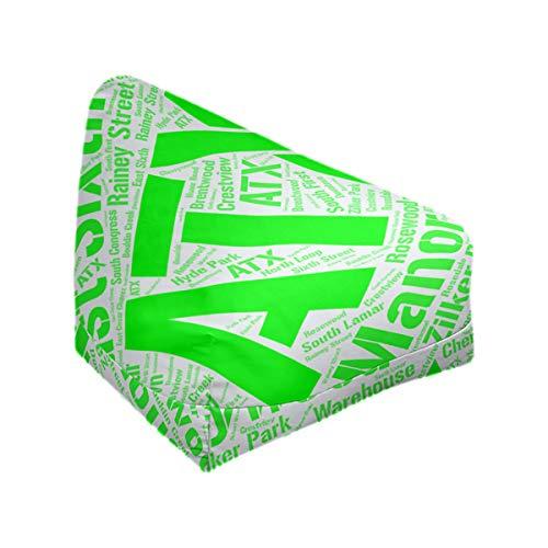 ArtVerse Rand Cites Austin, Texas Districts Word Art-Green Bean Bag Cover w/Inner Shell (No Fill)