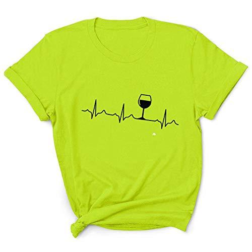 T-Shirt da Donna Estiva Nuova Top cardiogramma Fantasia Bicchiere di Vino Stampato Girocollo-1 Verde Frutta_L