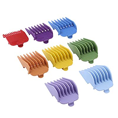 Professional Hair Clipper Guide Combs, Replacement Guards Set, 8 Color 8 Length Attachment Guide Combs, Great Fits for Many Wahl Clippers/Trimmers from BESTBOMG