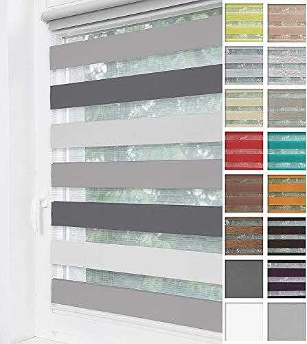 Home-Vision® Duo Rollo Klemmfix, Doppelrollo ohne Bohren mit Klämmträgern, Rollos für Fenster und Türen (Hellgrau-Grau-Graphit, B80cm x H150cm)