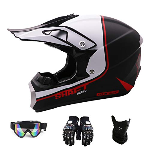 San car Motocross Helmet,Outdoor Full Face Dirt Bike Helmets ATV/MX Offroad Adult Motorcycle Helmet(Gloves, Goggles, Mask, 4 Piece Set),WhiteBlack,XL