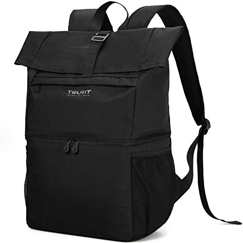 TOURIT teen-boys Cooler Backpack Insulated Lunch Backpack Lightweight Backpack with Cooler Compartt to Work Picnic Hiking Beach Park or Daily Trips Double Decker Backpack Large Black
