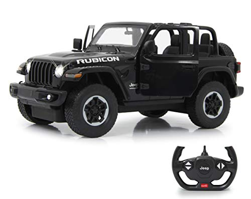 JAMARA Jeep Wrangler JL 405180 - Coche Manual (Escala 1:14, 2,4 GHz, Licencia Oficial, hasta 1 Hora de Viaje, Aprox. 11 km/h, Detalles Perfectamente ilustrados, Interior detallado, luz LED)