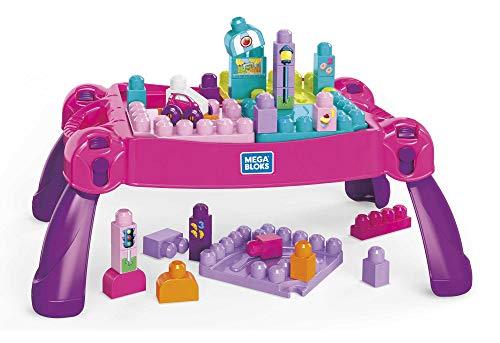 Mega Bloks- First Builders Tavolino Multi Attività Rosa 3 in 1 con 30 Blocchi da Costruzione,Giocattolo per Bambini 1+Anni, FFG22