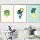 AdoDecor Leinwandbild Poster Kiwi Trauben Ananas Wandkunst