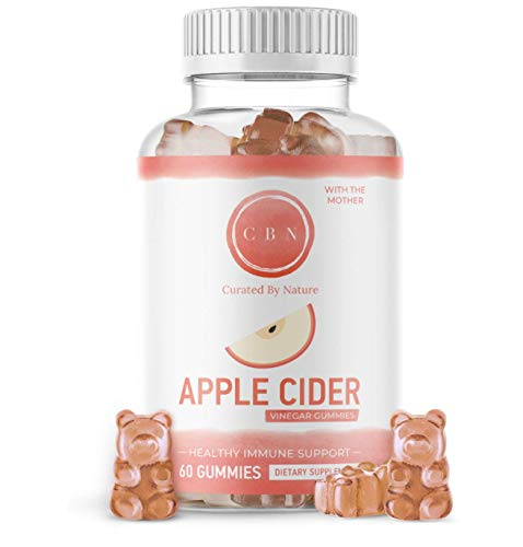 Curated by Nature Apple Cider Vinegar Gummies Extra Strength 500mg 60 Day Supply – Unfiltered Apple Cider Vinegar with The Mother – Packed with Vitamins B12 and B9 – Organic Immune Support Supplement