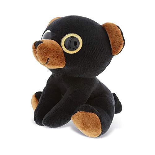 Dollibu Sparkling Big Eye Plush Stuffed Animal Teddy Bear - Cute Soft Woodland Security Toy Pal - Furry Plushie Cuddle Buddy Bedtime Friend - Birthday Gift for Baby Girls Boys - Small Black Bear