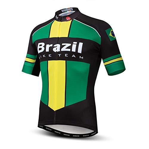 Weimostar Herren Radfahren Trikot Kurzarm Outdoor Mountainbike Kleidung Brasilien XXL