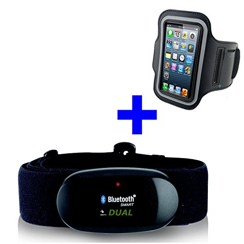 GO-SHOPPING24 Bluetooth 4.0 en ANT borstband + armband iPhone 4S / 5 / 5C / 5S / 6 / 6S / SE / 7 / 7S / 8 / X voor Runtastic, Wahoo, Strava app, hartslagmeter