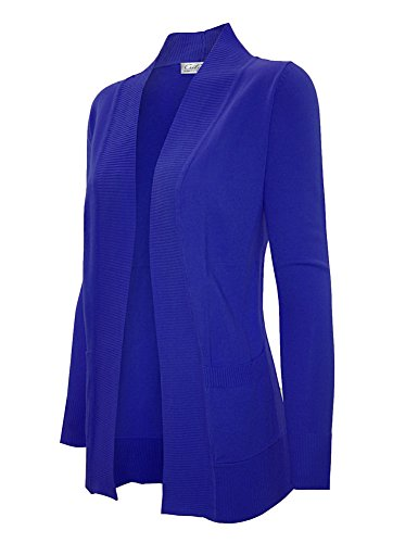 Cielo Women's Solid Basic Open Front Pockets Knit Sweater Cardigan RoyalBlue M