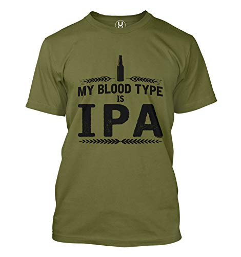 My Blood Type is IPA - Craft Beer Brew Men's T-Shirt (Olive, X-Large)