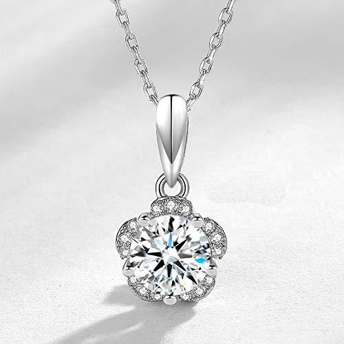 Nueva llegada s925 plata esterlina moda 5A zircon super brillante pétalo femenino colgante 1 quilate simplicidad collar del diamante