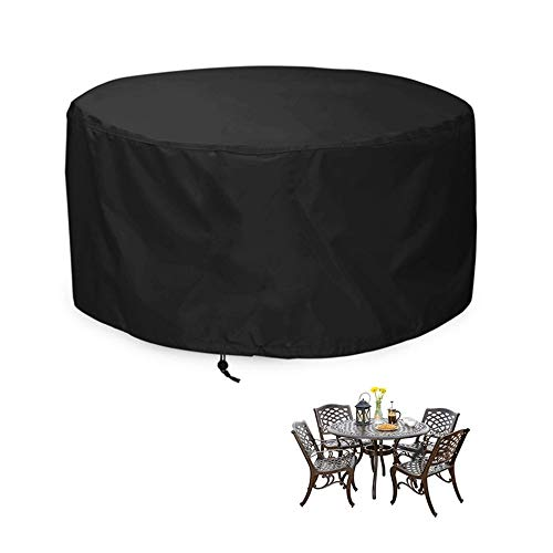 NINGWXQ Garden Furniture Cover Waterproof Environmental Protection Round Table Idle Item Protection zeildoek van Koord Design, 24 maten, 2 kleuren (Color : Black, Size : 240x100cm)