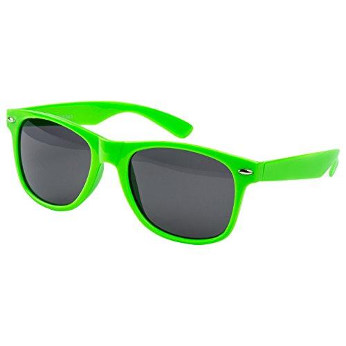 Ciffre EL-Sunprotect® Nerdbrille Brille Nerd Sonnenbrille Hornbrille Streber Neon Grün