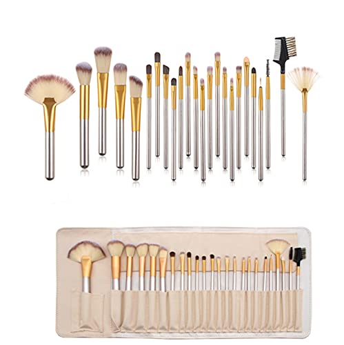 Make up Pinsel Set, Nincee 24 Stück Professionelle Make-Up Pinsel Pulver Flüssige Creme Gesicht Lidschatten Kosmetik Make-Up-Pinsel-Set Mit Roll Up Pu-Leder Tasche, Holzgriff