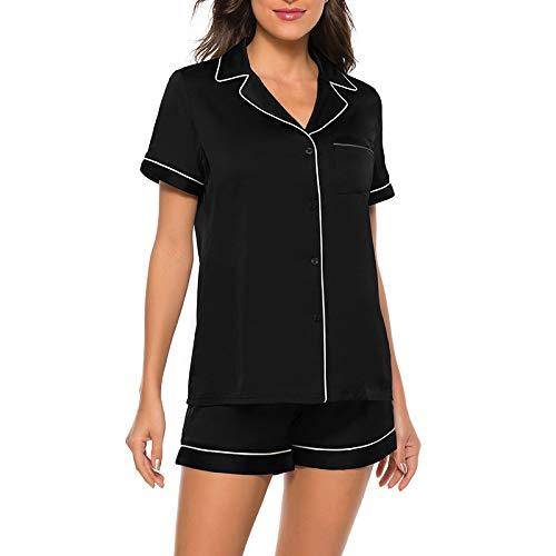 RUNYN Conjunto de Pijamas de Raso para Mujer, Conjuntos de Pijama de Solapa Sedosa, Ropa de Dormir de Manga Corta Superior e Inferior, Conjunto de Manga Corta de Seda