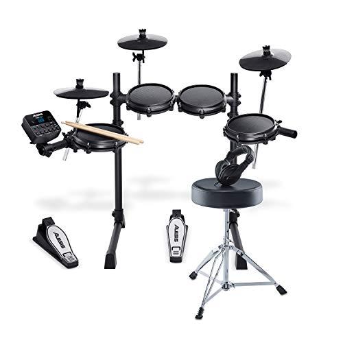 Pack Turbo Mesh Kit d'Alesis Drums – Ensemble de batterie électronique 7 pièces en peau maillée et Drum Kit comprenant siège,...