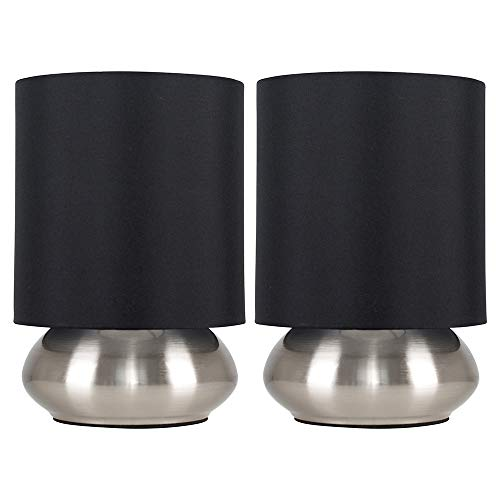 Pair of - Modern Chrome Touch Table Lamps with Black Shades