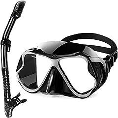 QcoQce 2019 Torr snorkel set,Anti-Dimma och Panorama wide view dykning mask,Lätt andning och professionell snorkel mask med mjuk munskänk,Snorkel set för vuxna (svart)