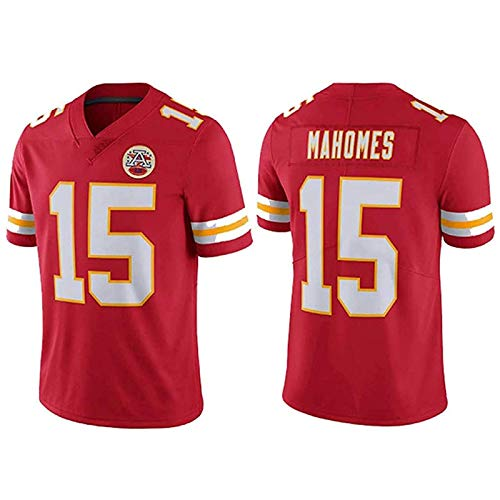 LAVATA Herren Kurzarm T-Shirt Fußballuniform Kansas City Chiefs 15# Patrick Mahomes Rugby-Trikots T-Shirts