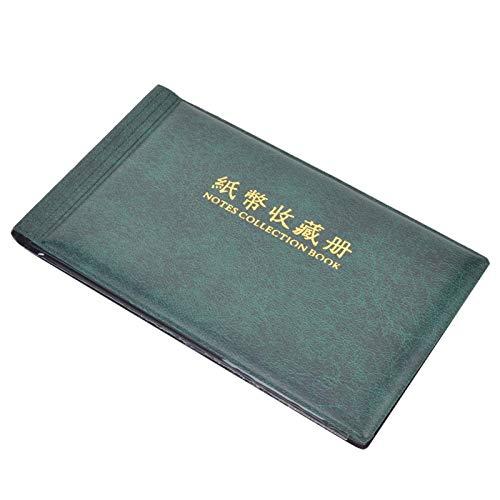 01 Portamonedas, Álbum de Dinero Transparente con 30 páginas para Contener 60 Billetes(Dark Green)