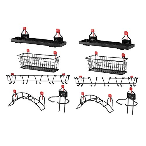 Rubbermaid Shed Shelf, Wire Basket, Tool Rack, Power Tool & Hose Holder (2 Each)