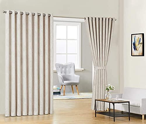 WARM HOME DESIGNS Par de 2 Cortinas Divisorias de Habitación de Color Beige Extra Anchas y Extra Largas de 274 cm x 274 cm (108 x 108...
