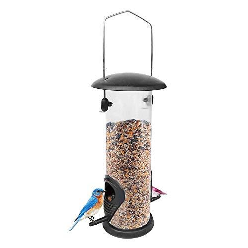 WCJ Semilla de hambre pájaro de metal alimentador, Casa grande del pájaro que cuelga alimentador del pájaro cubierta de hierro Alimentador de pájaros Parte inferior del alimentador del pájaro Alimenta