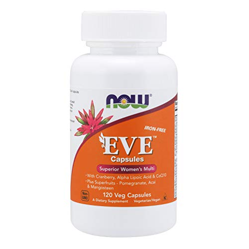 NOW Supplements, Eve Women's Multivitamin with Cranberry, Alpha Lipoic Acid and CoQ10, plus Superfruits - Pomegranate, Acai & Mangosteen, Iron-Free, 120 Veg Capsules