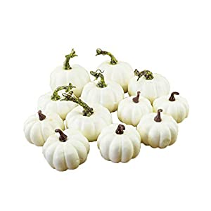 CABINAHOME Artificial White Pumpkins Mini Faux Pumpkins Fake Vegetable Fruit for Festival Wedding Halloween Thanksgiving Fall Harvest Home Table Decoration