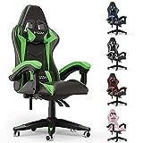 Bigzzia - Silla de oficina para juegos, silla de oficina, giratoria, resistente, diseño ergonómico con cojín y respaldo reclinable