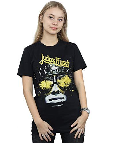Absolute Cult Judas Priest Mujer Hell Bent Camiseta del Novio Fit Negro Medium