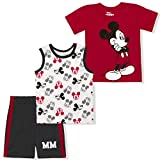 Disney Boy's 3-Pack Mickey Mouse MM Tee, Sleeveless Shirt and Short Set, Blue, Size 2T