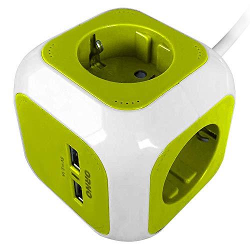 ORNO AE-13144 (GS) grenuttag kub Schuko, 2 x USB-laddare, 1,4 m H05VV-F 3 x 1,5 mm2 (limevit)