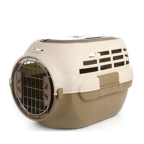 Transportbox mit Panorama-Dachfenster, Transportbox for Hund und Katze, Kaninchenkäfig, Transportbox aus Kunststoff 50 * 32 * 35cm, pink cxjff (Color : Brown)