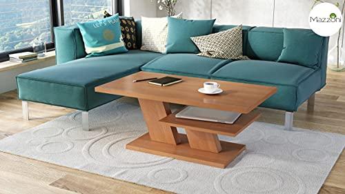 Mazzoni Design Couchtisch Tisch Cliff Wohnzimmertisch 110x60x45cm mit Ablagefläche (Erle)