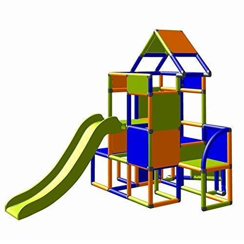 Moveandstic 6013 - großer Spielturm Lisa mit Rutsche und kleinen Anbau (orange-blau-apfelgrün)