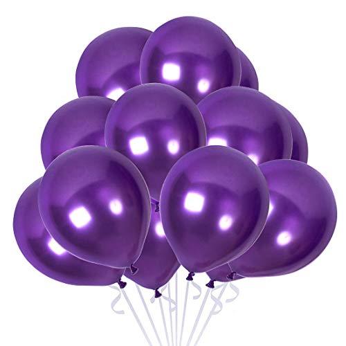 Globos Morados, 100 Globos Helio Latex Purple Ø 30 cm para Fiesta Decoracion