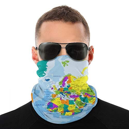 OUYouDeFangA Colorido Mapa Mundial, Unisex Multifunción, Tocado de Poliéster Secado Rápido Suave Diademas Pañuelo para el cuello, Tocado Mágico de Viaje, Pañuelo para la cabeza, Bandana, Masca