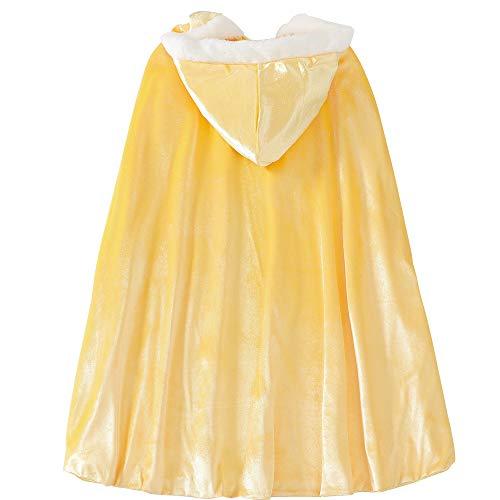 Kostüm für Mädchen, Prinzessin Elsa, Umang, Mantel für Halloween, Party, Cosplay, Winter, aus Samt, mit Kapuze, lang Gr. Medium, gelb