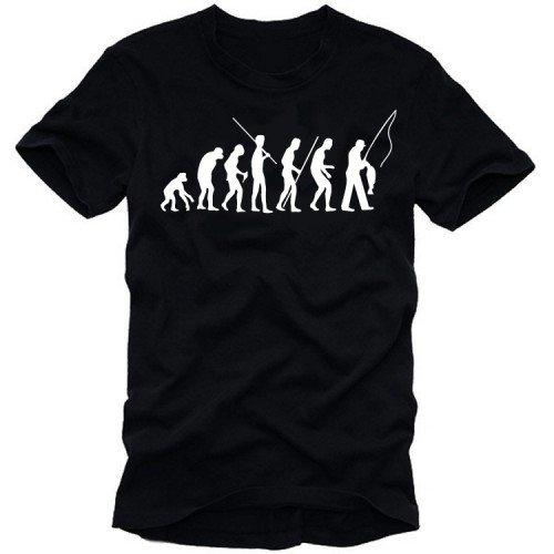 Angeln - Fischen evolution - Angler T-Shirt SCHWARZ Gr.L