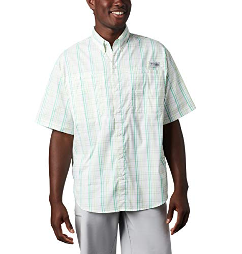 Columbia Men's PFG Super Tamiami Short Sleeve Shirt, UPF 40 Sun Protection, Dark Lime Small Check, Large