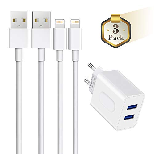 Everdigi Datenkabel 2 * 1M+2-Port USB 12W Ladegerät für Apple Kabel schnell USB Netzteil/Ladeset/Ladeadapter für iPhone XS XS Max XR X 8 8 Plus 7 7 Plus 6s 6s Plus 6 6 Plus SE 5s 5c 5 iPad - Weiß