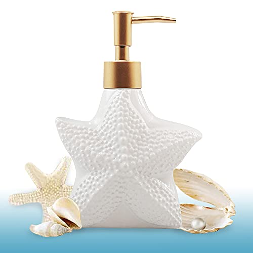Starfish-Shaped Soap Dispenser, White Ceramic Lotion Bottle with Noble Golden Matte Pump, Ocean Themed Décor for Kitchen Sink or Bathroom