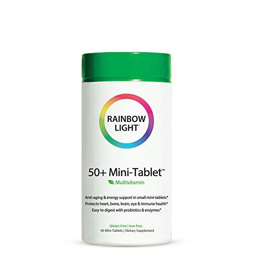 Rainbow Light - 50+ Mini-Tablet Food-Based Multivitamin - Age-defense Formula Probiotic and Antioxidant Formula; Vitamins and Minerals Support Immune, Heart, Skin, Eye, Bone and Prostate - 90 Tablets
