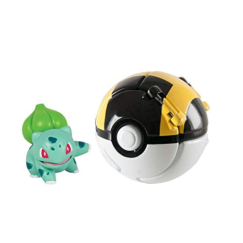 EHERIC Pokémon Throw 'N' Pop Poké Ball, Bulbasaur and Ultra Ball Action Figure Toy