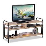 Relaxdays TV Schrank, Industrie, für Fernseher & Konsole, Lowboard mit offenem...