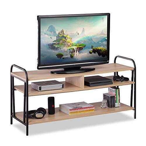 Relaxdays TV Schrank, Industrie, für Fernseher & Konsole, Lowboard mit offenem Design, HBT 60x120x40 cm, braun/schwarz