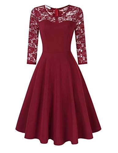 KOJOOIN Damen Elegant Spitzenkleid Cocktailkleid Brautjungfernkleider für Hochzeit Abendkleider Rundhals Knielang Rockabilly KleidWeinrot Langarm L