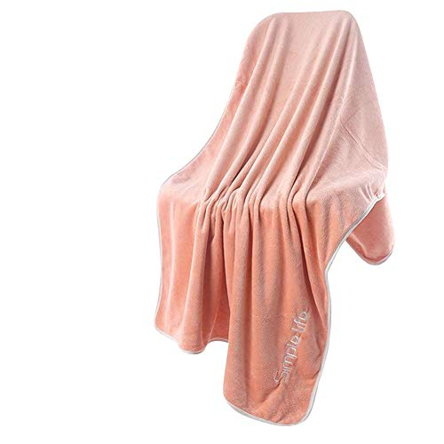 Toalla de Baño, Microfibra Suave para Adultos, Diseños Bordados Gruesa Altamente Absorbente Rosa 70x140CM